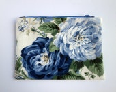 Decorator Fabric Floral Zipper Pouch, Blue, Cream, Red Pouch, purse organizer, clutch bag, travel accessory, cord cozy, exotic fabric bag
