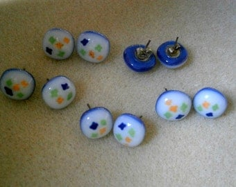 Fused Glass Earrings Super Sale with Sterling Silver posts, Blue Glass Earrings