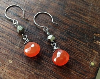 Autumn. Carnelian and pyrite sterling silver earrings
