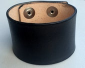 Leather Cuff Wristband, 1 1/2' Wide, Black