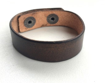 "Leather Bracelet Cuff, Narrow 3/4"" wide, Brown Wristband, by Shaterra"