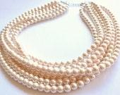 The Michelle- Cream Glass Pearl Statement Necklace