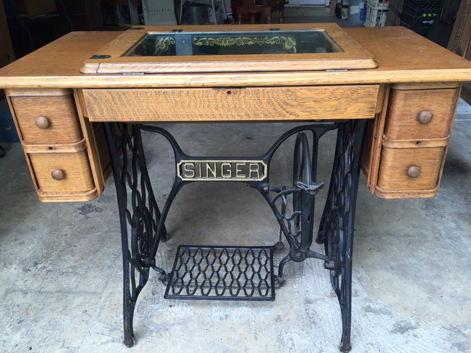 antique singer treadle sewing machine table