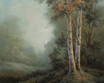Birch Mountain, Original Fine art, Acrylic, Tonalist Painting by Griselda Tello.
