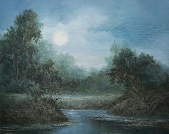Moonlight Landscape, Original Fine art, Acrylic, Tonalist Painting by Griselda Tello.