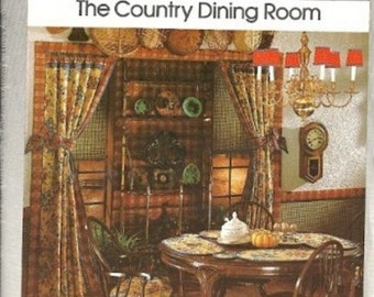 1970s Simplicity House 106 Country Dining Room Sewing Pattern Curtains, Shades, Placemat, Cushions