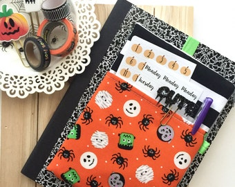 SALE - Planner Bag, Halloween Pencil Case,  Pocket Planner Pouch, Planner Band - Fits Notebooks, Erin Condren Life Planner, Happy Planner