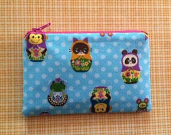Kawaii zip pouch - nesting dolls - cute wallet - blue pouch - cute camera bag - small wallet - animals - polka dots pouch - change purse