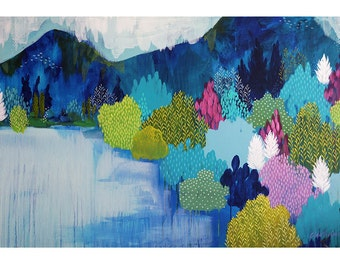 Lake Como, Fine Art Print by Clair Bremner, abstract expressionist landscape painting