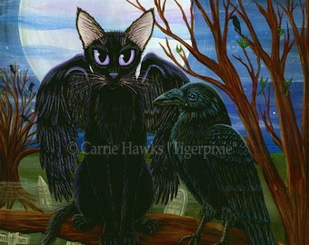 Black Cat Art Raven Moon Gothic Graveyard Fantasy Cat ACEO / ATC Mini Art Print Cat Lover Gift