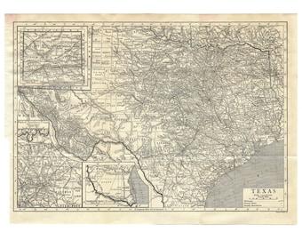 Instant Download Pre-World War I Antique Map: Texas 1910, Monochrome, Houston, San Antonio, Dallas, Austin, Fort Worth, up to 278 megapixels