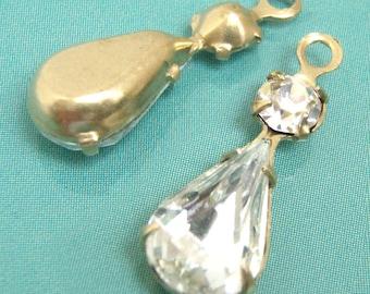 Crystal Teardrop Glass Beads, Brass Settings, 22mm x 7mm, 13x7mm Pear, Rhinestone, Color Choice, Glass Gems, Glass Jewels, One Pair