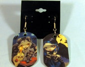 Sign of Our Parting and The Whispered Word Lenore Dogtag Earrings from Jasmine Becket-Griffith Art edgar allan poe gothic raven