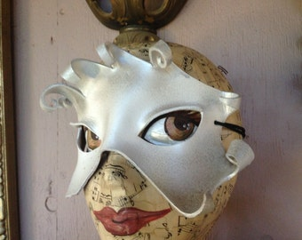 Frozen Ice mask,  asymmetric silvery white leather mask, OOAK