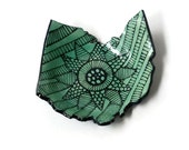 Turquoise Ohio State Shaped Tea Bag Holder, Prep Bowl, Ring Dish with Doodle Design
