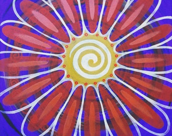 Floating Original Outsider Oil Painting Art Canvas Sun Flower Spiral Abstract Bohemian Hippie Funky Groovy  Meditation Psychedelic