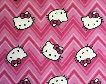Weighted Scarf with Pockets, Neck Wrap, Lap Pad - Hello Kitty Pink Chevron - Choose weight and minky color - special needs - flannel