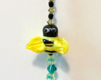 Suncatcher Large Faceted Teardrop Crystal Bumblebee Rainbow Maker