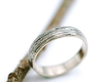 Tree Bark Wedding Ring - 14k Palladium White Gold Wedding Band - 4mm - made to order wedding ring in recycled metal