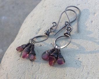 WATERMELON TOURMALINE earrings, Petite watermelon slice earrings, sterling silver