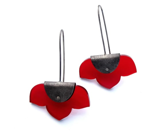 Pinned Kikyo Earrings - acrylic and sterling silver - Your choice of colors