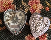 Reliquary Antique Silver Catholic Heart Shaped Jewelry Finding