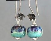 Lampwork Earrings, Glass Earrings, Sterling Silver Earrings, Dangle Earrings, Turquoise and Purple Earrings