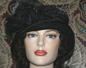 """Flapper Hat Edwardian Tea Hat Downton Abbey Hat 1920's Hat """"Madame Ronda"""" & """"Lady Marguerite"""" Black Cloche Hats"""