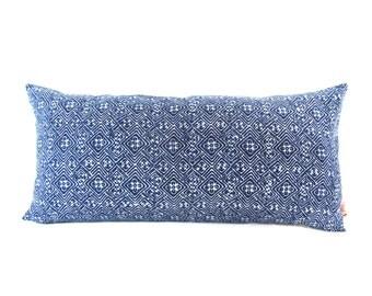 Blue Batik Indigo Hmong Textile Linen Lumbar Pillow - Bohemian Zipper Rectangle Pillow - Boho Linen Decorative Pillow- Filler Included