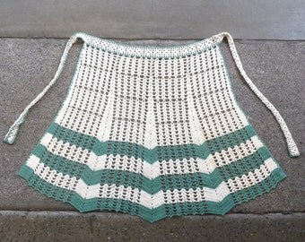 Vintage OOAK 40s 50s Handmade Crochet Apron