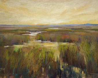 LOWCOUNTRY ART Marsh Landscape Original Pastel Painting 13x20