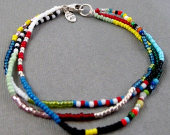 Triple Strand Beaded Bracelet - Colorful Tribal Glass and Sterling Silver Bracelet Multicolor and Sterling Silver Bracelet