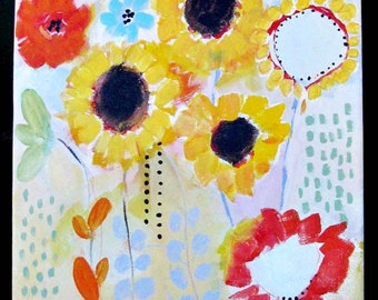 Original painting, Field of Flowers, stretched canvas, acrylics,