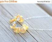 ON SALE Lemon Glass Necklace Sterling Silver Lemon Drop Boro Yellow Lavender Glass Caramel Glass Jewelry Ladies Summer Necklace Jewelry Gift