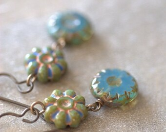 CLOSING SALE Aqua Czech Glass Earrings Vintaj Natural Brass Bronze Glass Earrings Picasso Czech Glass Bronze Earrings Gift for Mom Gift for