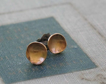 Tiny Pool Earrings- two tone circle studs- oxidized sterling silver & brass