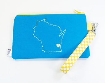 Wisconsin Home State Pride Wristlet Purse - Milwaukee Love - Brew Crew Colors - Blue and Yellow