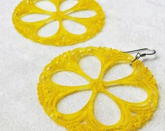 Yellow Large Round Earrings, Bohemian Colorful Vintage Lucite filigree discs, Flower Earrings, Boho Jewelry, Gift for best friends