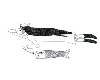 A5 Print: Sky Siren with  a flying fish Print A5 Limited Edition Signed and Numbered Print