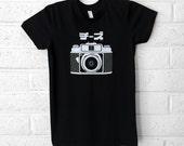 Women's Camera Tshirt -  Katakana Graphic Tee - Black American Apparel T-shirt - S,M,L,XL