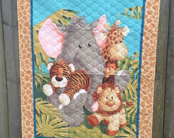 Jungle Babies Baby Quilt With Soft Cloth Storybook FREE SHIPPING
