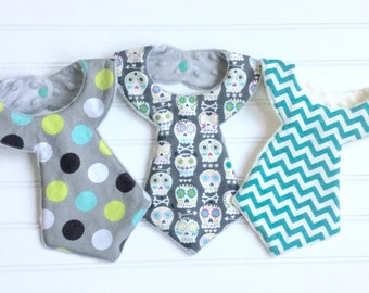 Set of 3 Baby Boy Cool Necktie Style Bib ***Skull Chevron Dots***