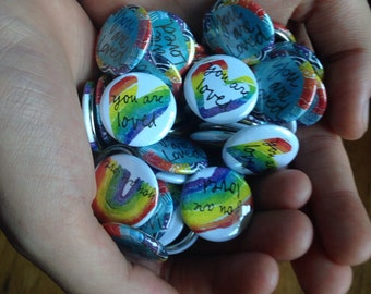 you are loved - rainbow blessing buttons set of 100