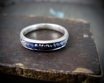 sapphire ombre .... stack ring... September birthstone