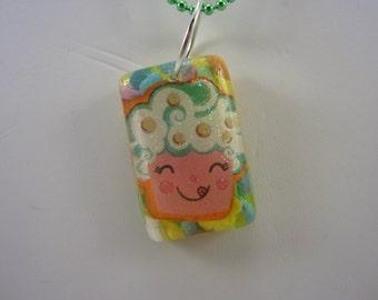 Rainbow Cupcake Resin Necklace