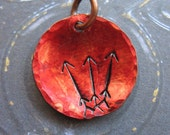 Upwards Arrow Stamped Copper Disc Charm in Russet Red