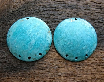 23mm Domed, Hole Punched Hammered Brass Discs in Verdigris - 1 pair