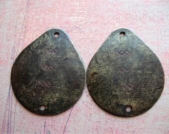 Blackened Brass Triple Diamonds Teardrop Charms - 1 pair