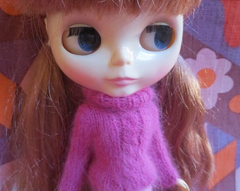 Handmade Blythe Sweater - Pink Cable Sweater and Trouser Set in Fluffy Angora Yarn