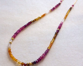 Sunburst Padparadscha Sapphire and Ruby Necklace